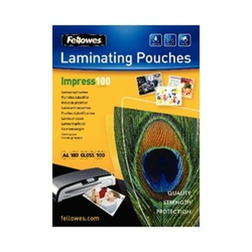 Fellowes A4 100 Micron Laminating Pouches Pack 100