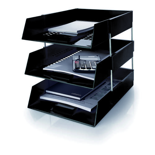 Initiative Plastic Letter Tray Black 255w x 347d x 55h mm