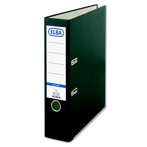 Elba Paper On Board 70mm Lever Arch File A4 Black