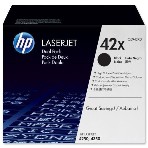 Hewlett Packard Toner Cartridge High Capacity Black Pack 2 Q5942XD