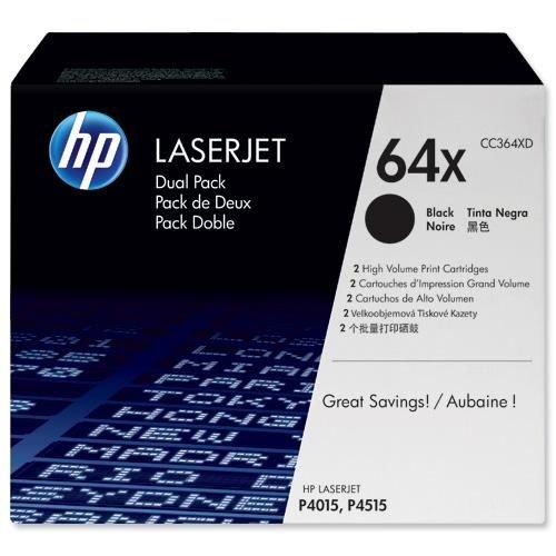Hewlett Packard CC364XD No 64X 24K Pages Black Toner Cartridge Twin Pack