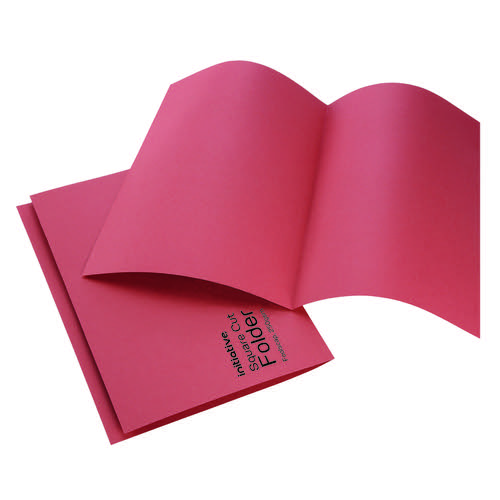 Initiative Square Cut Folders Mediumweight 250gsm Foolscap Red