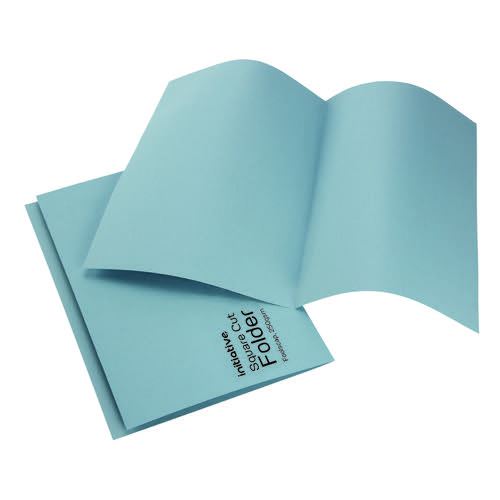 Initiative Square Cut Folders Mediumweight 250gsm Foolscap Blue