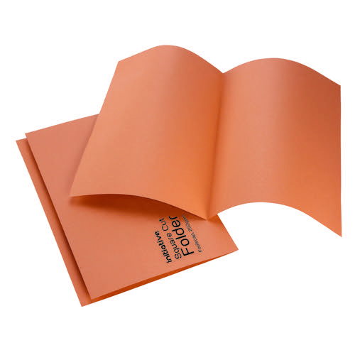 Initiative Square Cut Folders Mediumweight 250gsm Foolscap Orange