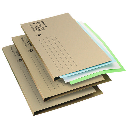 Initiative Economy Kraft Square Cut Folders 170gsm Foolscap Buff 100% recycled