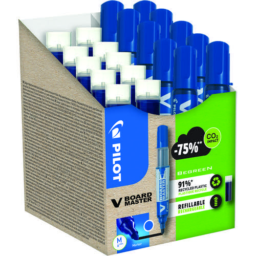 V-Board Master - Whiteboard marker - Greenpack 10 Markers + 10 Refills - Blue - Medium Conic Tip