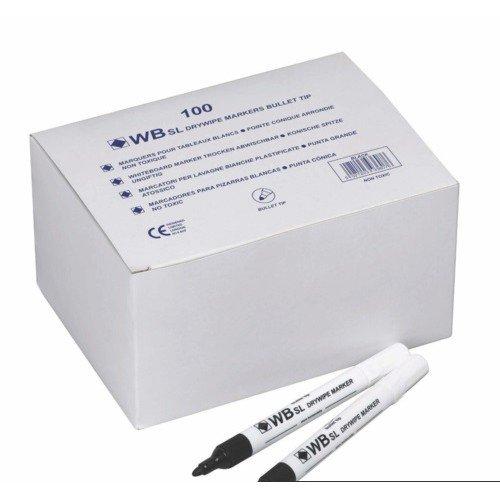 WB Sl Drywipe Bullet Tip Black  Pack Of 100  In A Branded Disply Box
