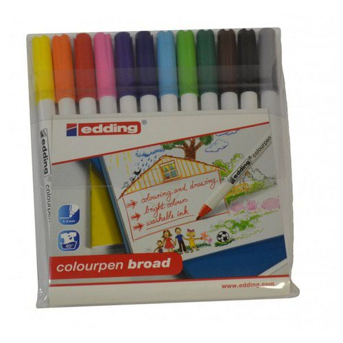 Edding Colouring Pens Broad Washable Assorted Pack 12