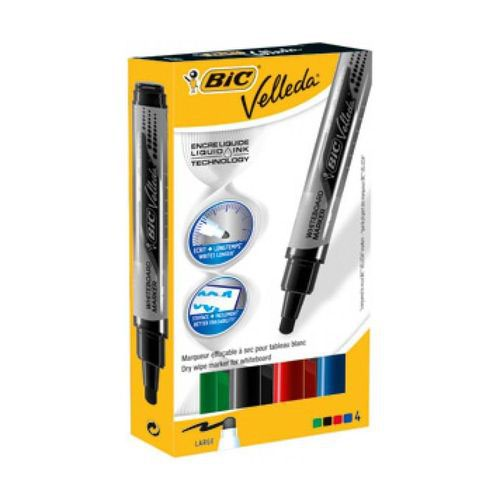 Bic Velleda Liquid Ink Tank Dry Wipe Markers Assorted Wallet 4