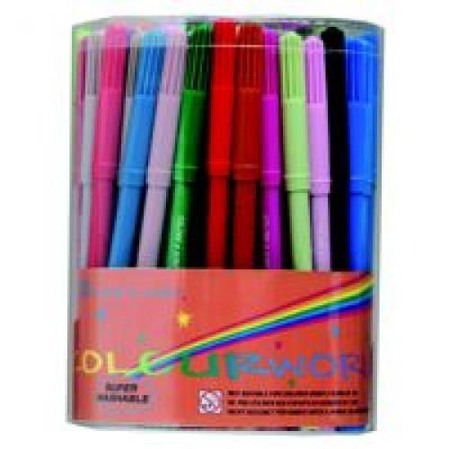 Colourworld DB101 Fine Colouring Pen Assorted Wallet Pack 12