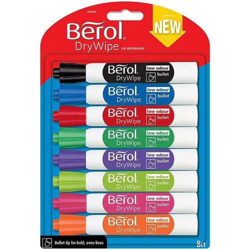 Berol Drywipe Marker Round Assorted Pack 8