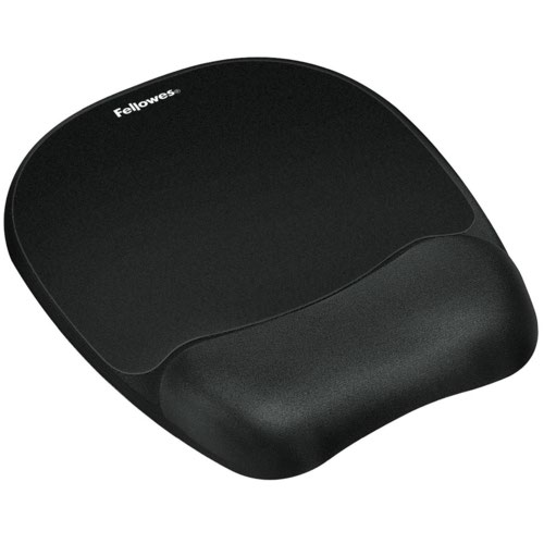 Fellowes Memory Foam Mousepad Wrist Support Black
