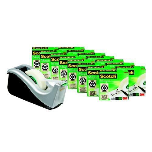 Scotch Magic Tape 810 19x33 12 Rolls & Free Dispenser