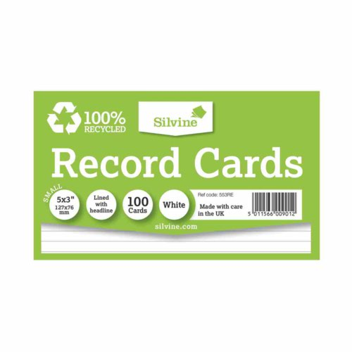 """Silvine Climate Friendly Record Cards Lined With Headline Premium Quality Size 5X3"""""""