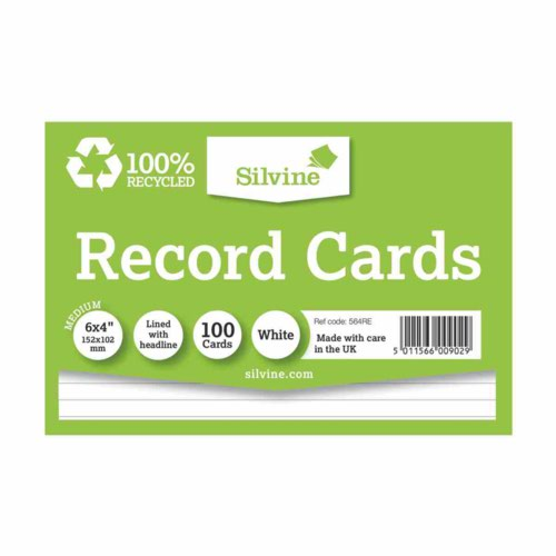 """Silvine Climate Friendly Record Cards Lined With Headline Premium Quality Size 6X4"""""""