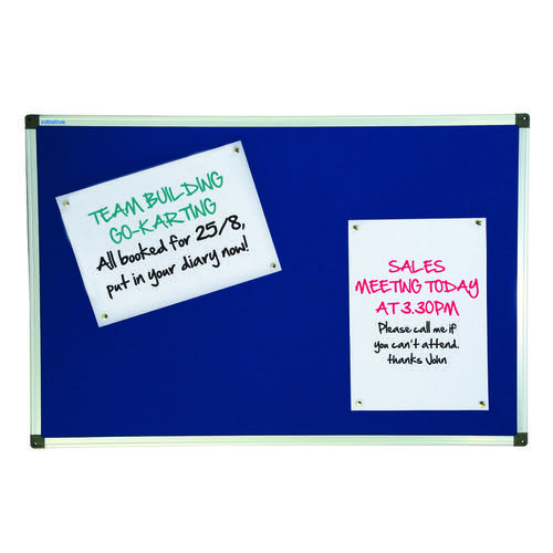 Initiative Noticeboard 900x600mm (3x2) Aluminium Frame Blue
