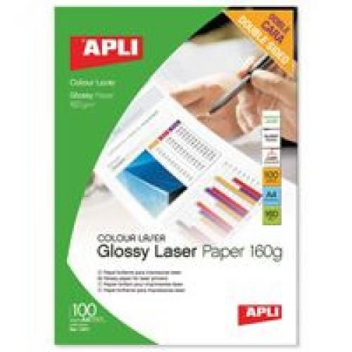 Apli Glossy Laser Paper A4 160gsm Pack 100