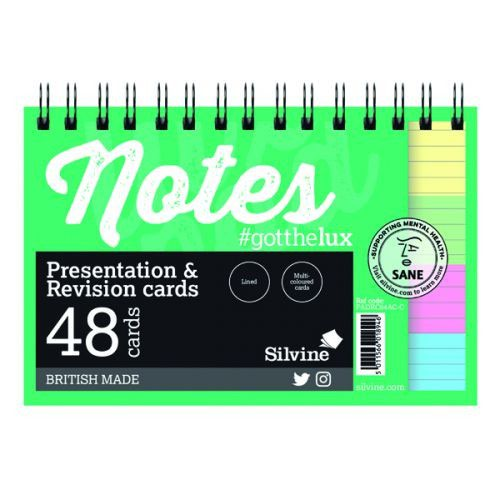 "Silvine Revision Presentation And Note Cards White Lined With Headline 6X4"" 50 Cards In A Pack"