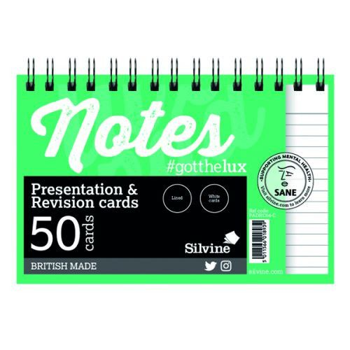 "Silvine Revision Presentation And Note Cards Twinwire White Lined With Headline 6X4"" 48 Cards"