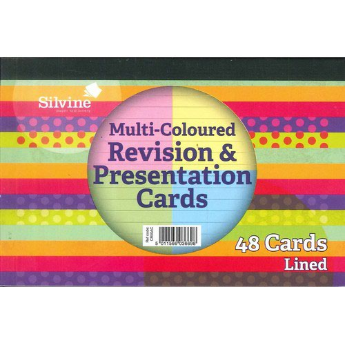 "Silvine Revision Presentation And Note Cards Asst Colours Lined With Headline 6X4"" 50 Cards"