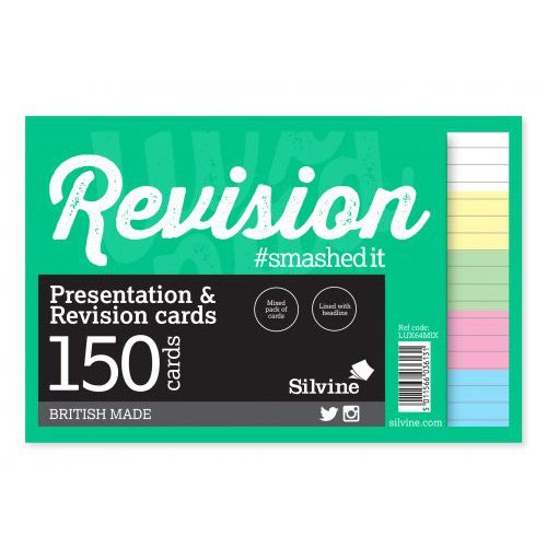 "Silvine Revision Presentation And Note Cards Twinwire Asst Colours Lined With Headline 6X4"" 48 Cards"