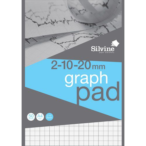 Silvine A4 Graph Pad 2:10:20: 50 Sheets 90gsm