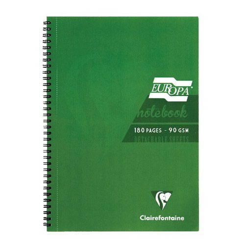 Europa Notebook A4 180 Pages 90gsm Green