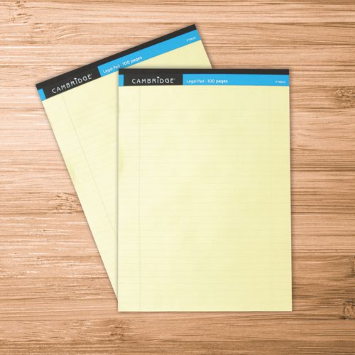 Cambridge A4 Legal Memo Pad 100 Yellow Page