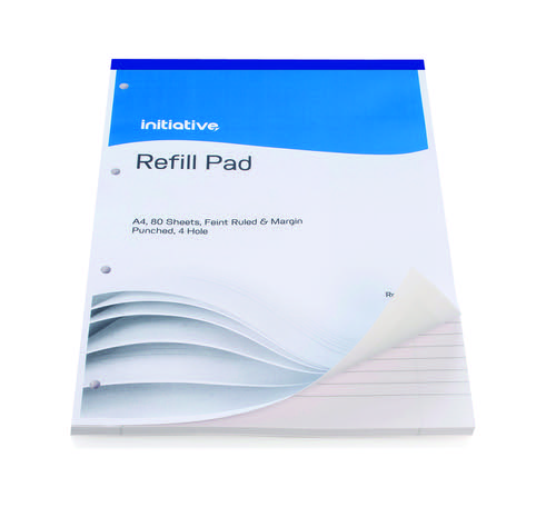 Initiative Refill Pad A4 70gsm Feint Ruled and Margin Punched 4 Hole 160 pages Refill Pads PD9186