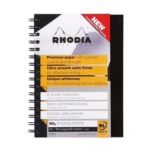 Rhodia WireBound A5 Hard Bound Book Feint Ruled Margin 90gsm 160 Pages