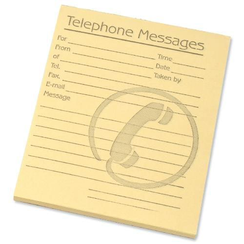 Telephone Message Pad 80 Sheets 127x102mm Yellow Paper
