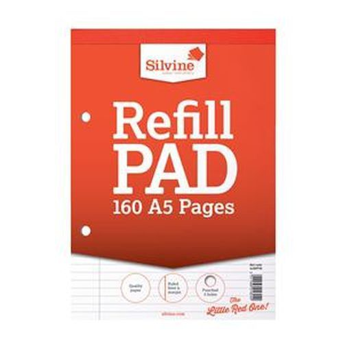 Silvine Refill Pad A5 Top Bound Ruled Feint And Margin Red Cover 80 Leaves 75gsm