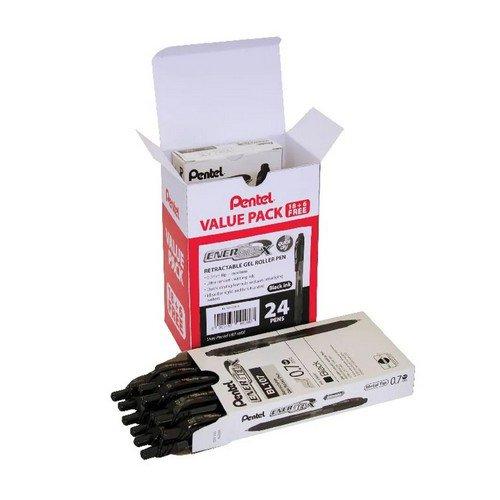 Pentel EnerGel X Gel Rollerball Pen Black Pk 24 BL107/24-A Value Pack 18 + 6 FOC