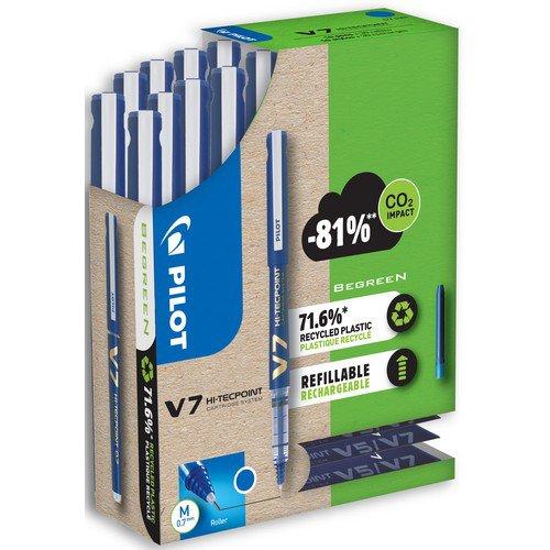 V7 Refillable- Liquid ink roller - Greenpack 10 Pens + 10 Sets of 3 Refills- Black - Medium Tip