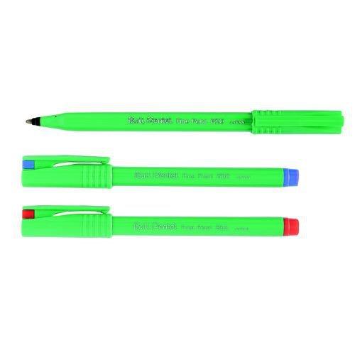 Pentel R50 Rollerball Pen Green Barrel Water-Based 0.8mm Tip 0.4mm Line Black