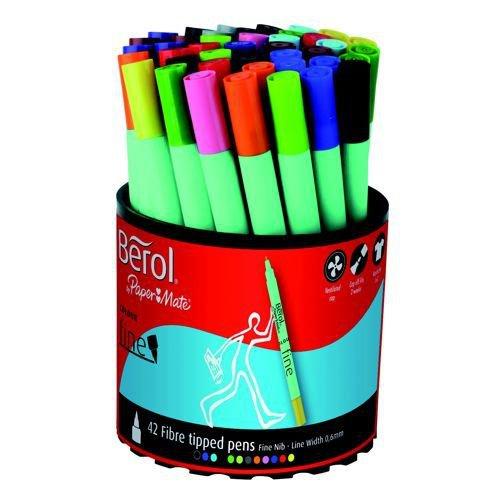 Berol Colour Fine Pen 0.6mm Assorted Pack 42