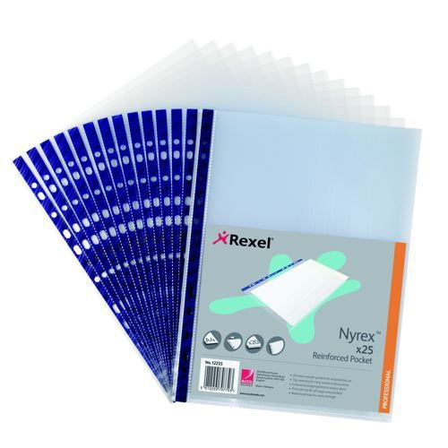 Rexel Nyrex Reinforced Pockets Blue Spine A4 Top Opening Pack 25
