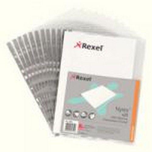 Rexel Presentation Multipunched Pocket Side Opening Grey Strip Pack 25