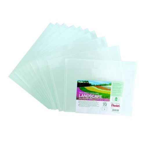 Pentel Recycology Document Envelope Landscape Clear PK10