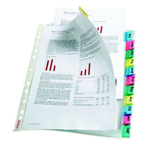 Esselte Index with 12 Tabbed Pockets A4 Polypropylene Glass Clear