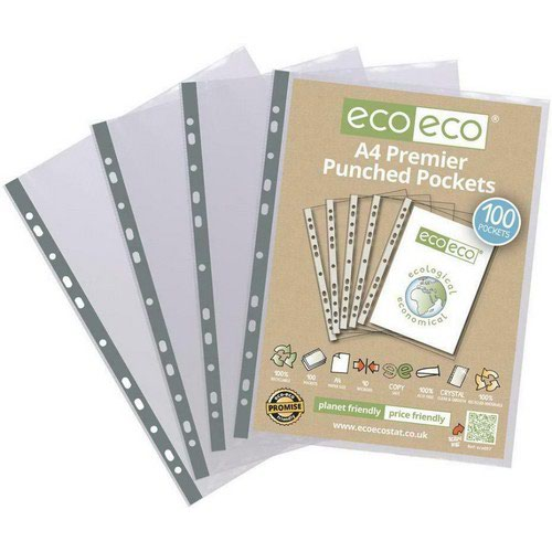 Eco A4 100% Recycled Bag 100 Multi Punched Pockets