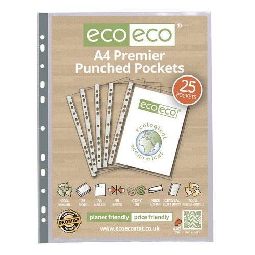 Eco A4 100% Recycled Bag 25 Premier Multi Punched Pockets