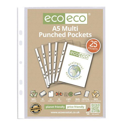 Eco A5 100% Recycled Bag 25 Multi Punched Pockets