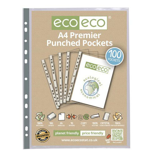 Eco A4 100% Recycled Bag 100 Premier Multi Punched Pockets