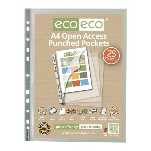 Eco A4 100% Recycled Bag 25 Premier Open Access Punched Pkt