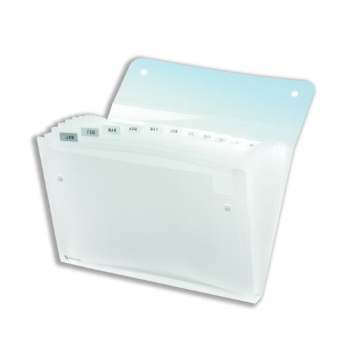 Rexel Ice Expanding Files Durable Polypropylene With Tabs 13 Pockets A4 Clear