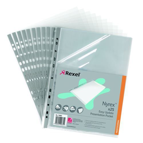 Rexel Presentation Multipunched Pocket Side & Top Opening Grey Strip Pack 25