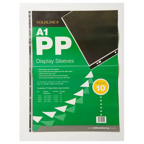 Goldline 10 Polypro Display Sleeves 9 Holes A1