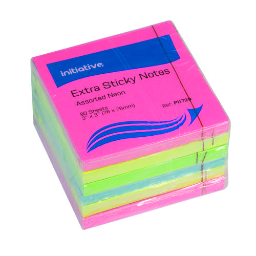 Initiative Extra Sticky Notes Assorted Neon Colours 76 x 76mm 90 Sheets Per Pad