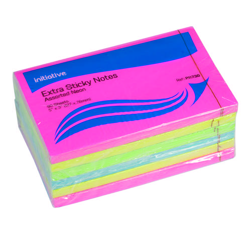 Initiative Extra Sticky Notes Assorted Neon Colours 76 x 127mm 90 Sheets Per Pad